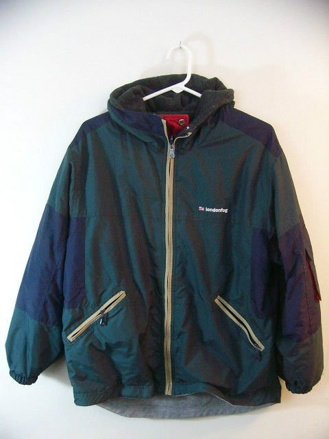 LONDON FOG REVERSIBLE COAT JACKET WINTER SIZE LARGE GREEN GRAY BLUE