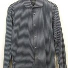 BANANA REPUBLIC Gray Striped 100% Cotton LS Mens Dress Shirt 15-15 1/2 (M)