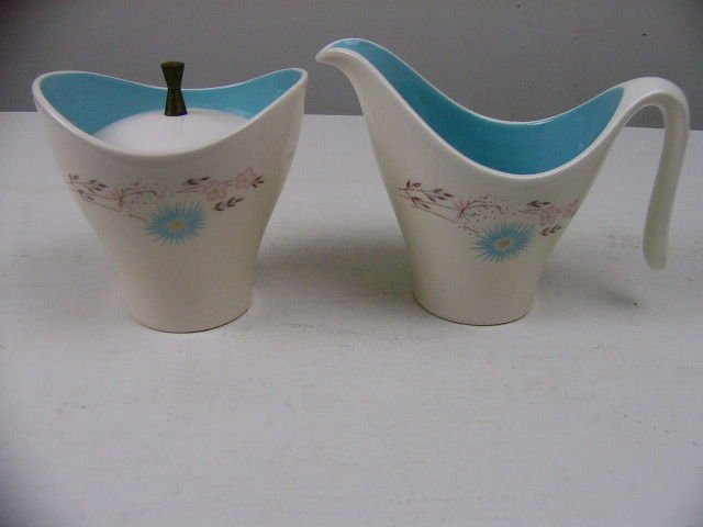 Vintage Eva Zeisel Style  Creamer and Sugar retro mid-century white teal flower