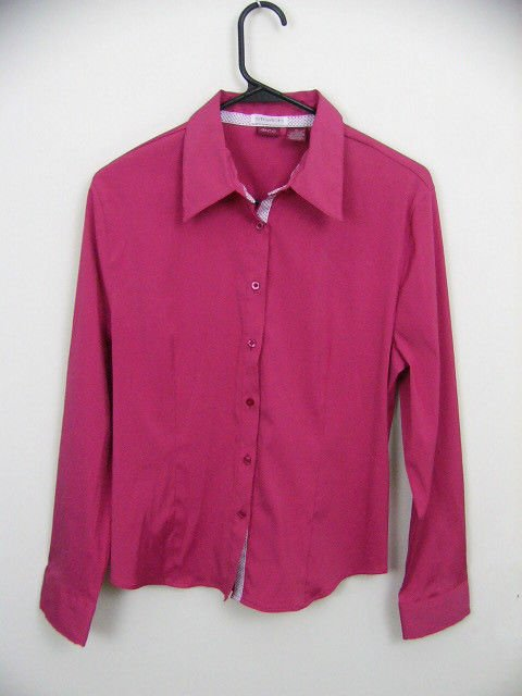 DCC STRETCH WOMENS RASPBERRY PINK BLOUSE SHIRT TOP SIZE XL RIBBON TRIM