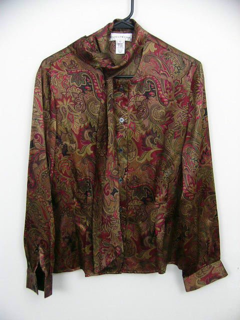 EVAN-PICONE WOMANS PAISLEY BROWN BLOUSE 100% SILK CAREER SCARF SIZE 12 LARGE