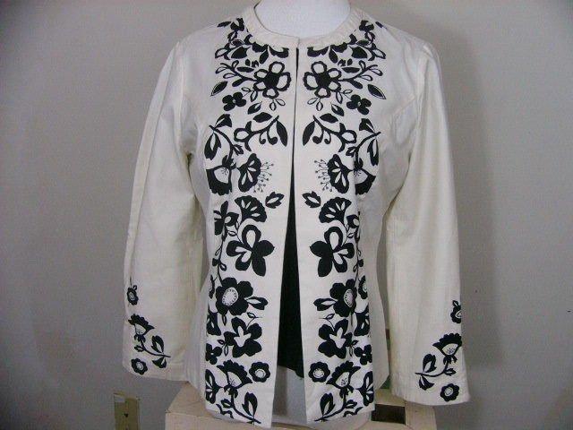 LOT 2 SIGRID OLSEN SPORT White Black Stretch Jacket Blazer & INC shell size m