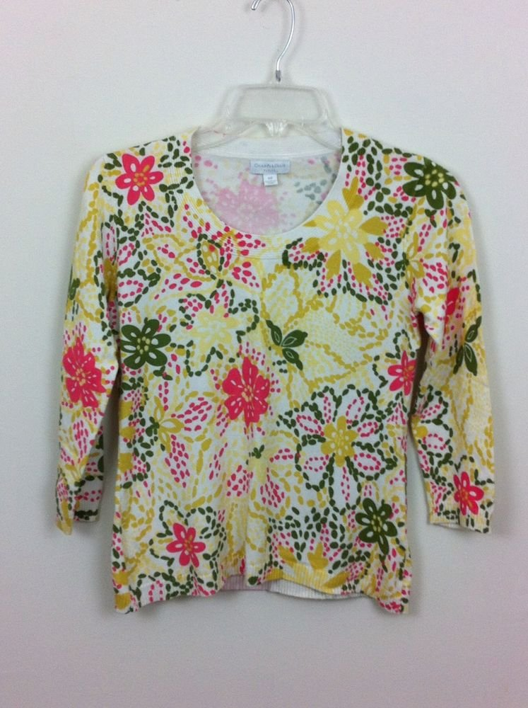 CHARTER CLUB PETITE WOMENS YELLOW & CORAL FLORAL SWEATER SIZE SMALL  SPRING!