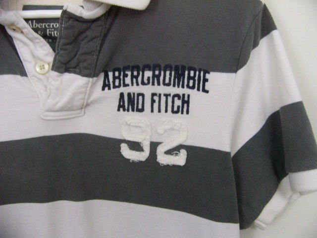 MEN'S ABERCROMBIE & FITCH POLO SHIRT A&F MUSCLE SHIRT Striped gray white LARGE