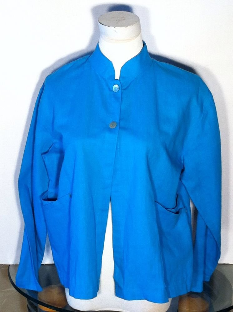 COLDWATER CREEK WOMENS TURQUOISE LINEN COTTON BLOUSE SHIRT TOP SIZE SMALL BLUE