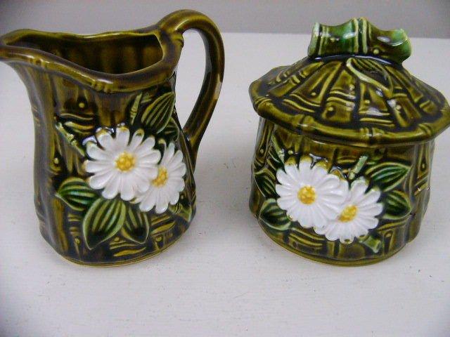 Vintage Retro Creamer & Sugar Bowl Lid Set Ceramic Japan Green bamboo with daisy