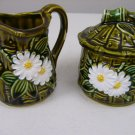 Vintage Retro Creamer & Sugar Bowl Lid Set Ceramic Japan Green bamboo with daisy
