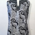 CYNTHIA ROWLEY BLACK AND WHITE PAISLEY SLEEVELESS SHIRT TOP SIZE LARGE WOMENS