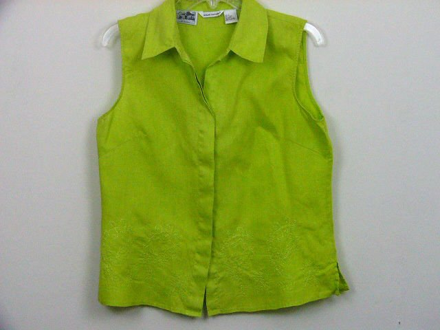 RICHARD MALCOLM 100% IRISH LINEN WOMENS TOP SHIRT BLOUSE SLEEVELESS SIZE LARGE