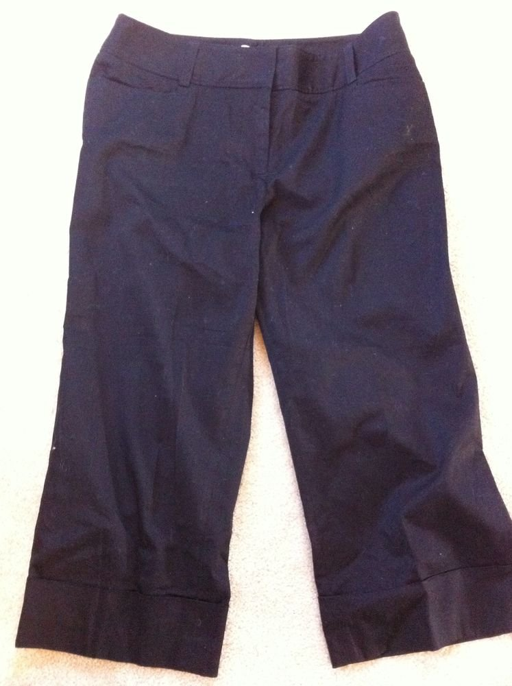 WHITE HOUSE BLACK MARKET CAPRIS CROPPED BLACK PANTS SIZE 6