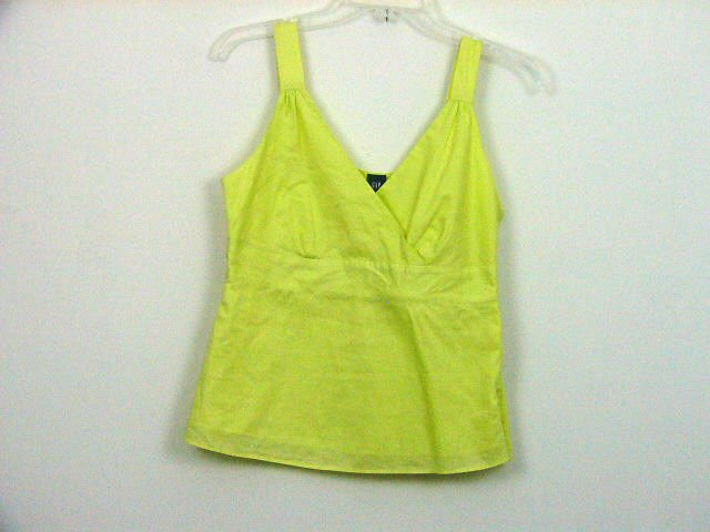 GAP YELLOW GREEN CROSSOVER COTTON TANK TOP SHIRT SIZE SMALL WOMENS