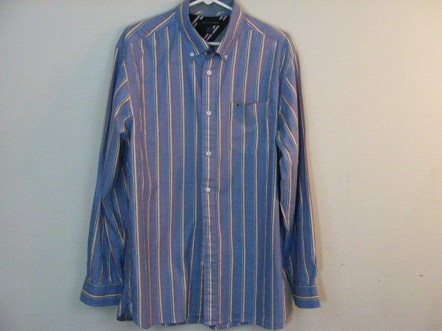 TOMMY HILFIGER MENS BUTTON DOWN BLUE STRIPED SHIRT SIZE LARGE