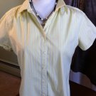 GAP STRETCH WOMENS SIZE LARGE YELLOW STRIPE BUTTON SHIRT BLOUSE TOP SHORT SLEEVE
