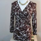 MICHAEL KORS WOMENS BROWN WHITE BLOUSE SIZE XS GATHERED BUST LINE