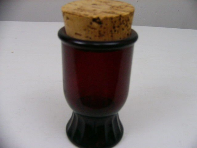 "WHEATON N.J. RUBY RED GLASS SPICE  JAR WITH CORK LID 5"" VINTAGE RAGE & UNIQUE!"