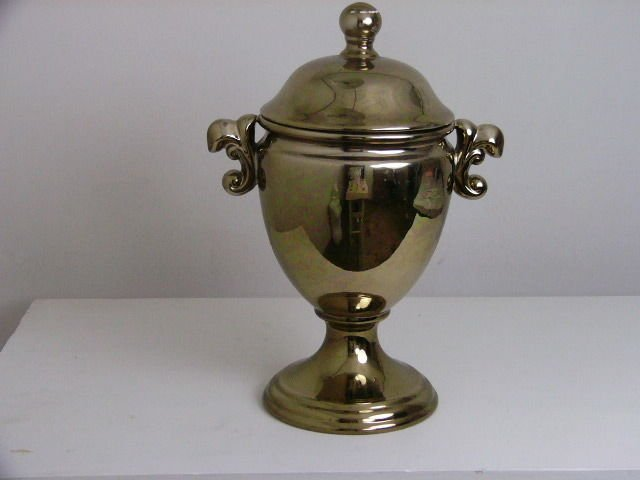 LARGE GOLD URN VASE WITH LID AND HANDLES 16""