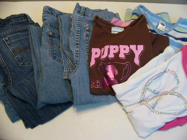 LOT 7 GIRLS  SCHOOL OUTFITS: 4  JEANS 2 TOPS AND 1 FLEECE  SIZE 10 OLD NAVY