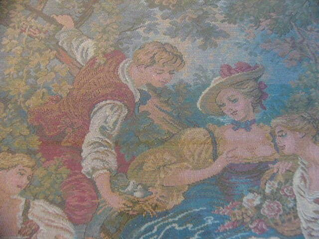 LOT OF 2! VINTAGE ANTIQUE FRAMED FRENCH AUBUSSON WALL TAPESTRY LATE 19TH CENTURY
