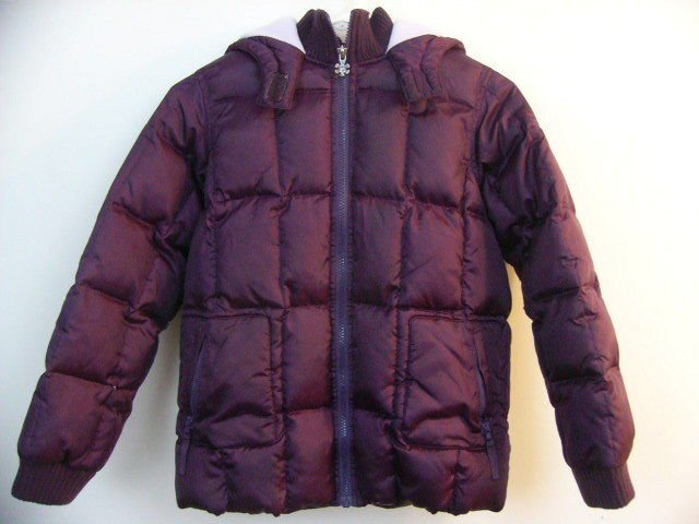 OLD NAVY GIRLS PUFFY WINTER COAT SIZE LARGE WITH HOOD PURPLE