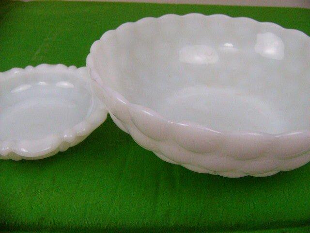 "Vintage Fenton Milk Glass Bubble Glass 8"" Bowl & Anchor Hocking Ashtray dish 5"""