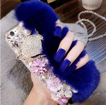 iPhone 6 or iPhone 6s DIY Furry Fur Bling Rhinestone Crystal Elegant Phone Case Cover