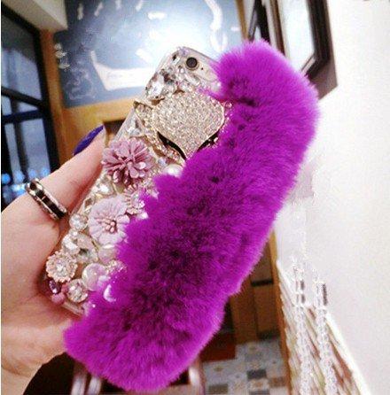 iPhone 7 Plus DIY Furry Fur Bling Rhinestone Crystal Elegant Phone Case Cover