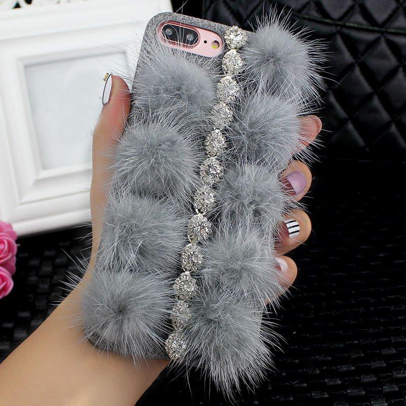 iPhone 6 Plus or iPhone 6s Plus DIY Furry Fur Bling Rhinestone Crystal Elegant Phone Case Cover