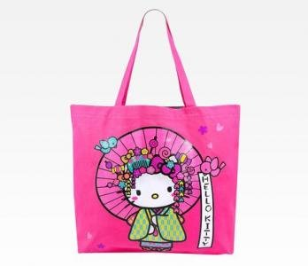 Retired Hello Kitty Canvas Tote Bag & Compact Mirror | Nugeisha Collection by Sanrio