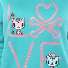tokidoki Neon Love TEAL Pull-over Sweatshirt - Size: X-LARGE