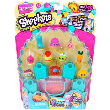 Lot of 5 - Shopkins Season 3 - 12 Pack (totaling 60) Moose Toys (Colors/Styles Vary)