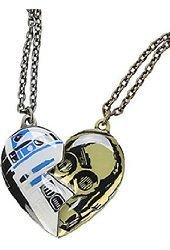 Disney Star Wars R2-D2 & C-3PO Best Friends Heart Pendant Necklace Set