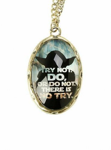 Star Wars Yoda Try Not Quote Cameo Pendant Necklace by Bioworld