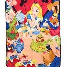 "Retired Disney Alice in Wonderland Tea Party Comfy Super Plush 48""×60"" Throw Blanket"