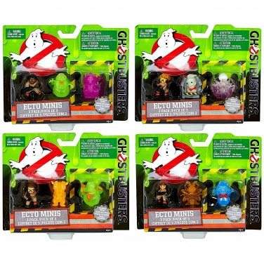 Mattel Ghostbusters 2016 Movie Ecto Minis Set of 4, 3 Pk w/ Exclusive Figure Abby Jillian Patty Erin