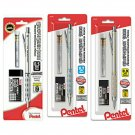 Lot of 3 - Pentel Graph Gear 1000 Mechanical Drafting Pencil & Eraser Set, 0.5mm, 0.7mm, 0.9mm