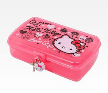 Retired Sanrio Hello Kitty Jewelry Case With Lock: Squiggle Collection