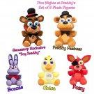 Five Nights At Freddy's FNAF Plush Figures Set of 5 Freddy GameStop Toy Freddy Foxy Chica & Bonnie