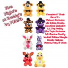 Five Nights At Freddy's Plush Set of 8 Freddy Foxy Chica Bonnie Mangle Shadow, Golden, & Toy Freddy