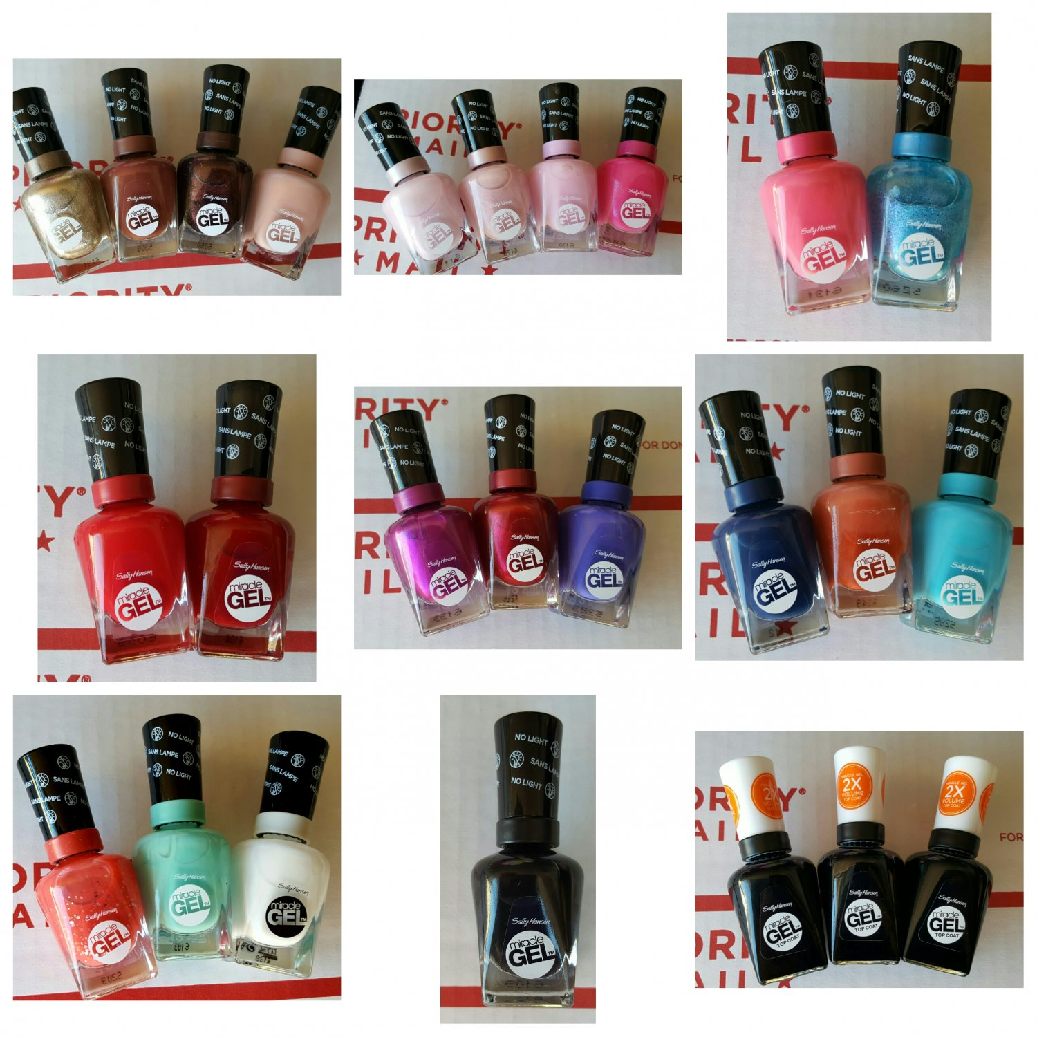 Lot of 25 Sally Hansen Miracle 2-Step Gel Manicure - Assorted Colors - No Light Required