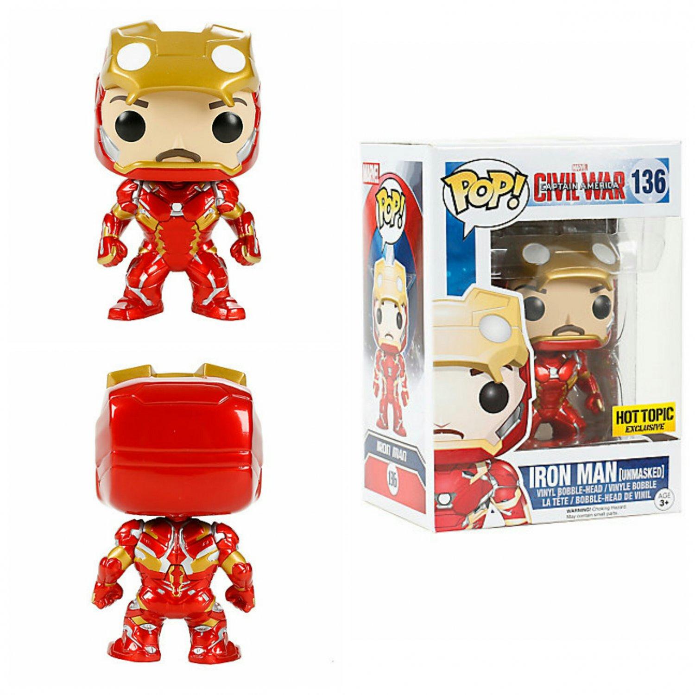 FUNKO Marvel Captain America: Civil War POP! Iron Man (Unmasked) Bobble-head Hot Topic Exclusive