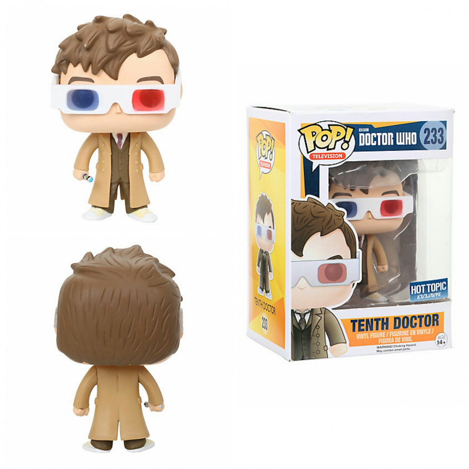 Funko Doctor Who POP! Television Tenth Doctor (3D Glasses) Figure Hot Topic Exclusive