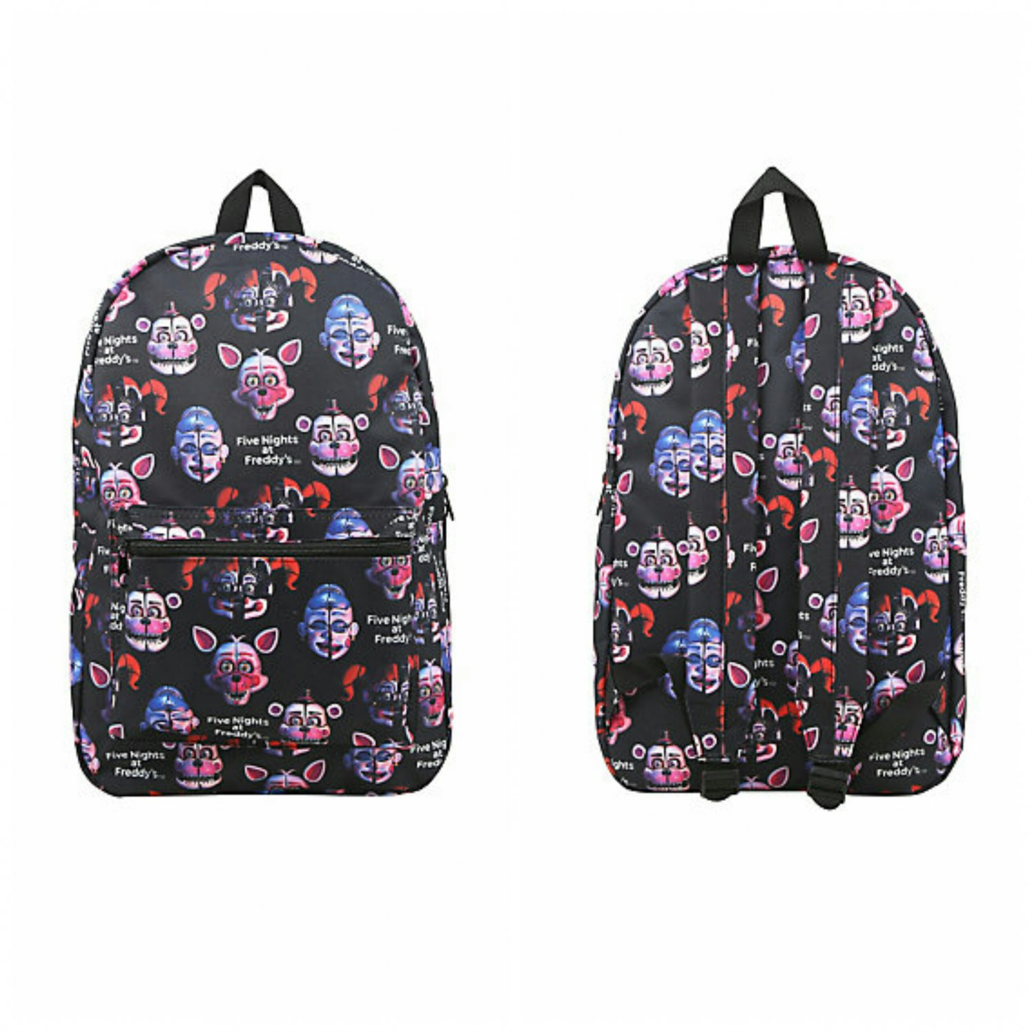 Five Nights At Freddy's Sister Location Print Backpack (Freddy & Foxy, Ballora, & Circus Baby)