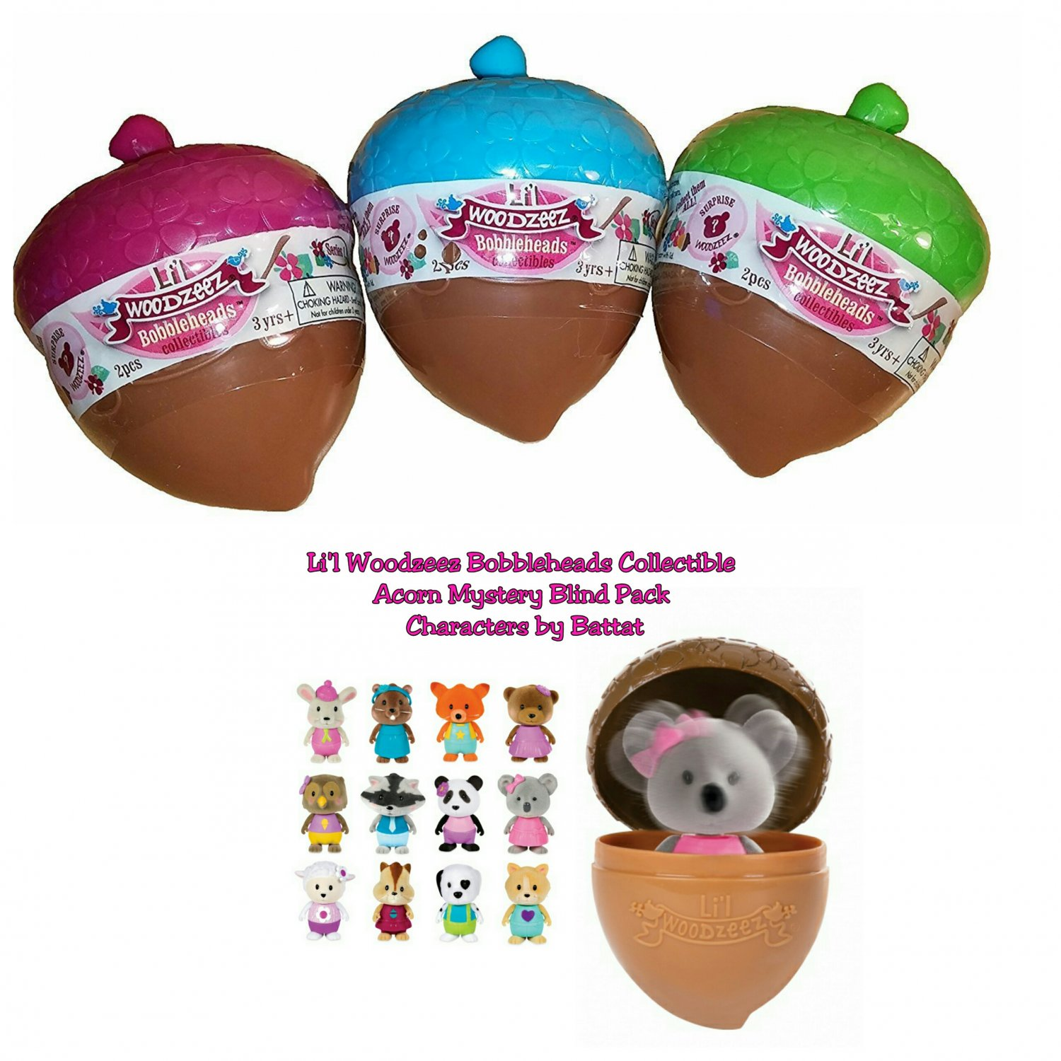 Lil Woodzeez Bobbleheads Collectible Acorn Mystery Blind Packs Series 1 Full Case of �24 Sealed
