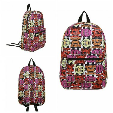 Five Nights at Freddy's Checkerboard Pattern Blocks Canvas Backpack (Freddy, Bonnie, Foxy, & Chica)