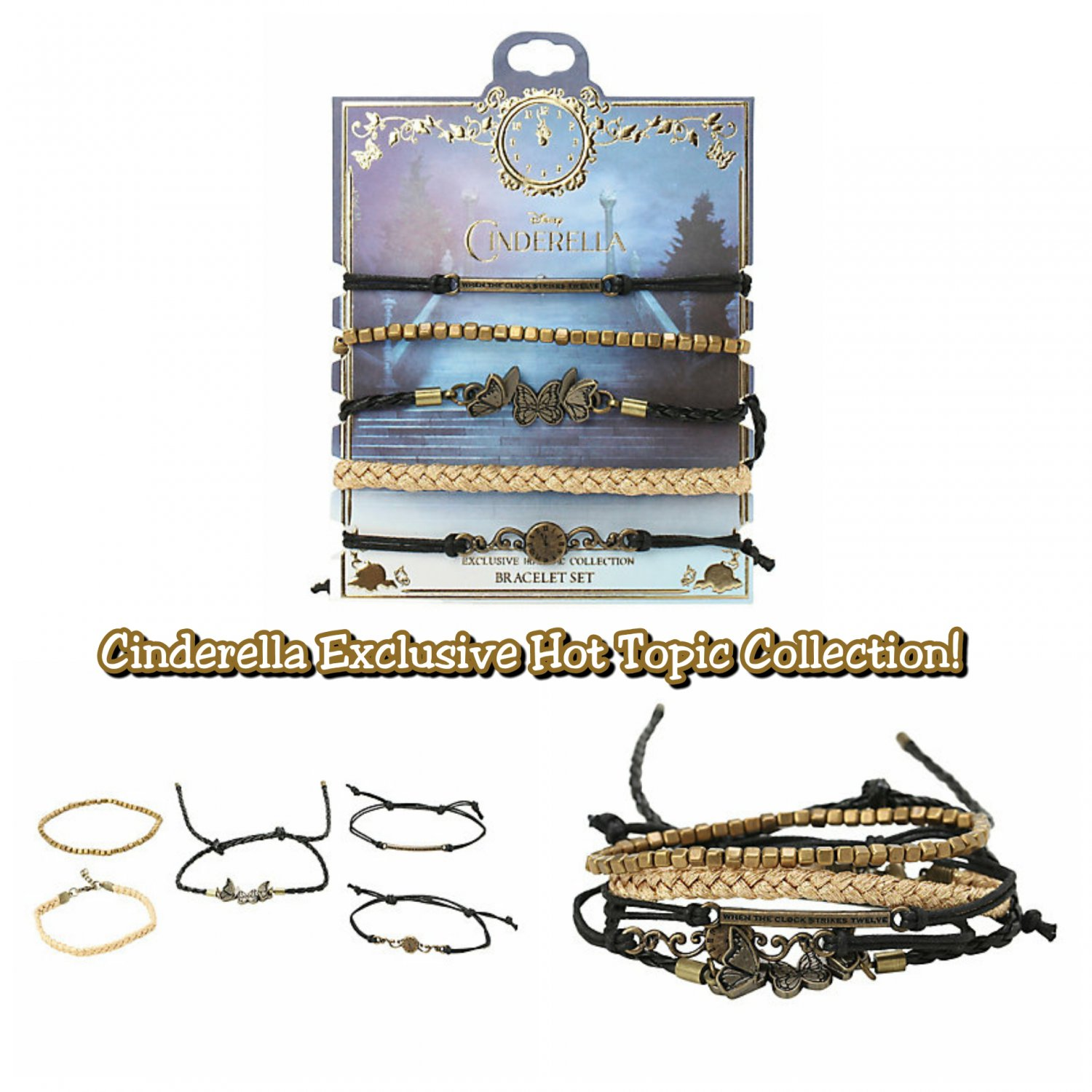 Disney Cinderella Exclusive Hot Topic Collection Black & Gold Bracelet 5 Pack Set by HighIntenCity