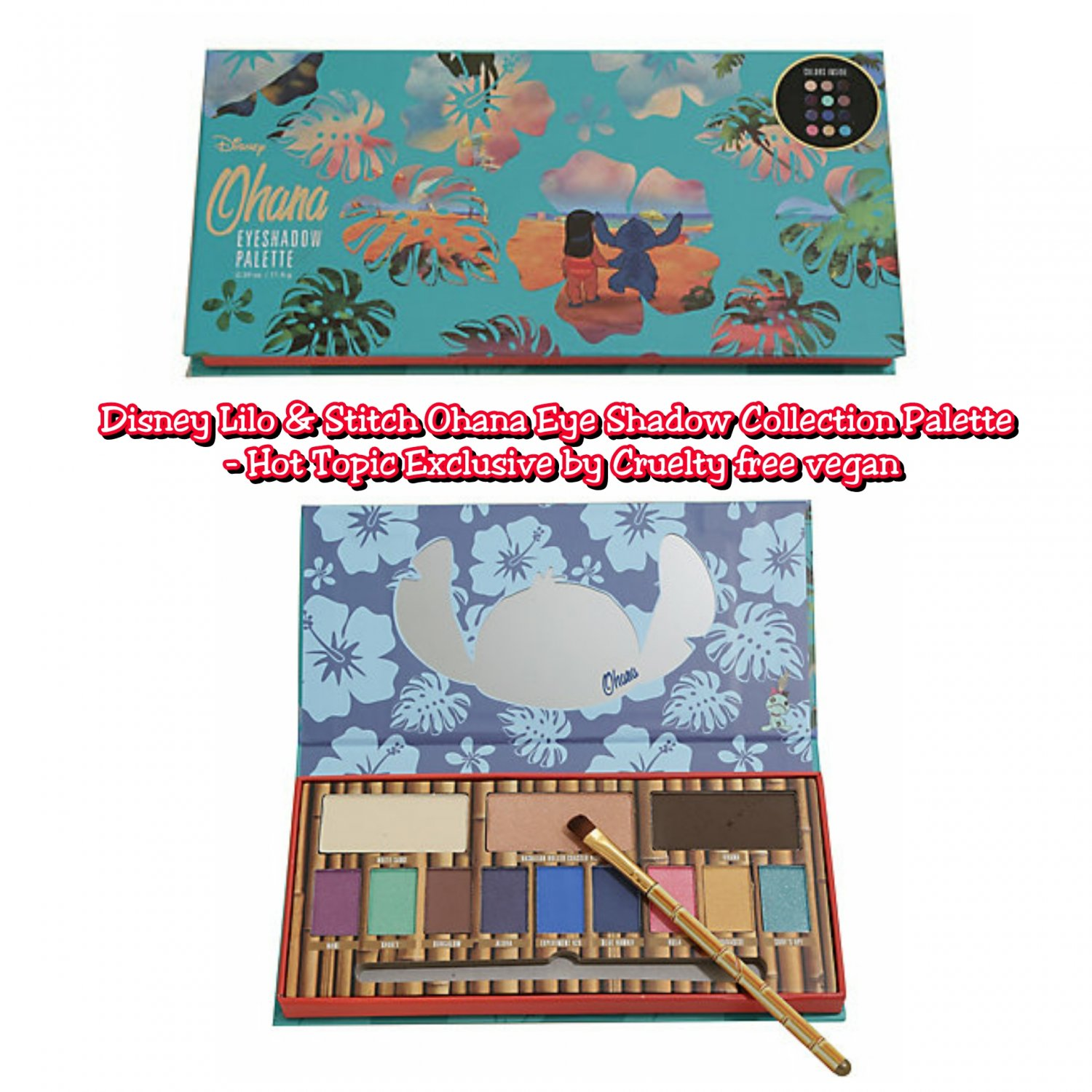 Disney Lilo & Stitch Ohana Eye Shadow Collection Palette (12 Shades) Hot Topic Exclusive