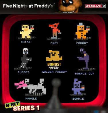 Mcfarlane Five Nights at Freddy 8-Bit Figures Freddy Bonnie Chica Foxy Mangle Purple Guy Puppet