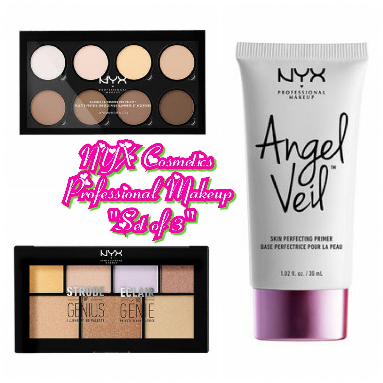 Set of 3 NYX Cosmetics Highlight & Contour Pro, & Strobe of Genius Palette, & Angel Veil Primer