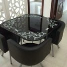 Negotiable tables and chairs combination table four chairs tempered glass dining table chairs simple