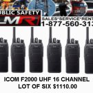 Icom F2000 UHF 400-470 16 ch  lot of six Radio Battery Antenna Charger